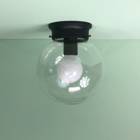 "Modern 8"" Clear Glass Globe Flush Mount Fixture with Black Hardware"