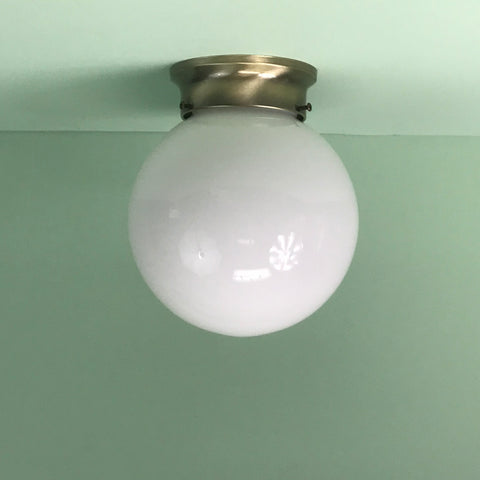 "Retro 8"" Opal Glass Globe Flush Mount Fixture with Antique Brass Hardware"