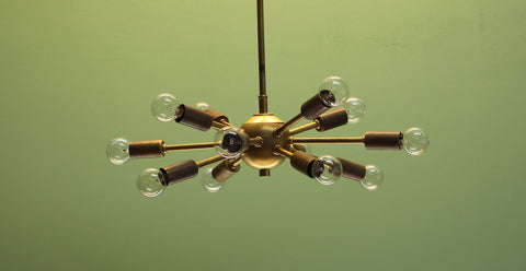 Classic Baby Sputnik Chandelier in Raw Brass