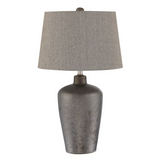 Clayton Modern Ceramic Bronze Table Lamp with Gray Linen Shade