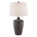 Clayton Modern Ceramic Bronze Table Lamp with Ivory Linen Shade