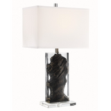 Cleon Lucite Abstract Modern Gemstone Table Lamp with Shade by Lite Source in Jet Black