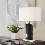 Cleon Lucite Abstract Modern Gemstone Table Lamp with Shade by Lite Source