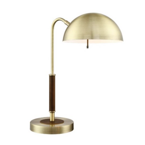 Clouseau Antique Brass and Walnut Desk Lamp by Lite Source