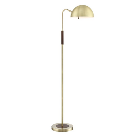 Clouseau Antique Brass and Walnut Floor Lamp by Lite Source