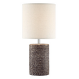 Dustin Small Modern Ceramic Textured Table Lamp with Linen Shade by Lite Source