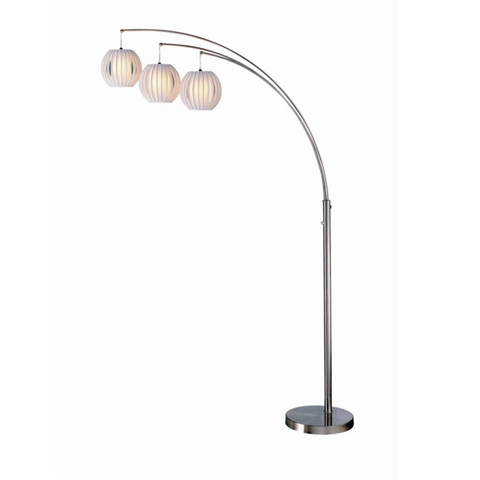 Deion Modern Brushed Silver Three-Light Arc Lamp - Practical Props