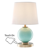 Eliza Sea Glass Blue, Green, Turquoise Modern Table Lamps with Linen Shades by Lite Source