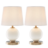 Eliza Opal Glass Round Modern Table Lamps with Linen Shades by Lite Source