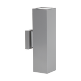 Modern Square Exterior Up Down Wall Sconce Silver