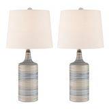 Felicia Pair of Striped Blue and White Ceramic Table Lamps with Linen Shades