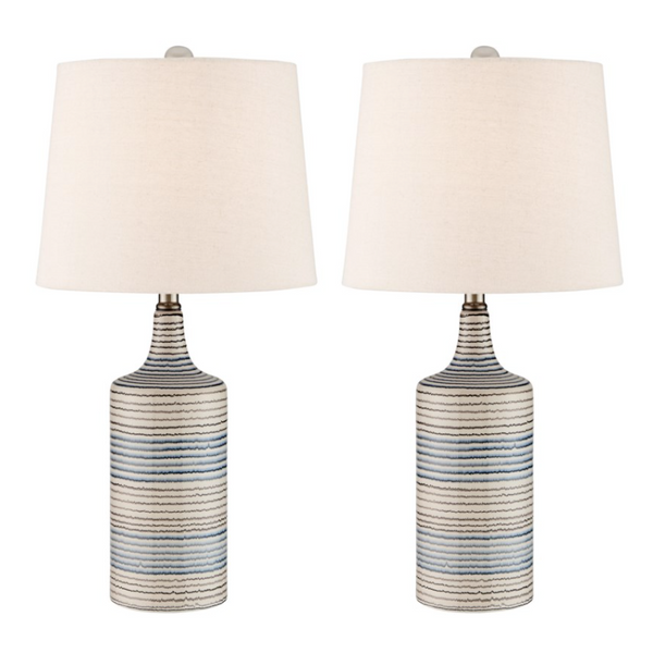 Pair of Striped Table Lamps