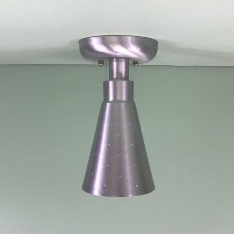 Midcentury Modern Flush Mount Pinhole Cone Ceiling Light Satin Aluminum