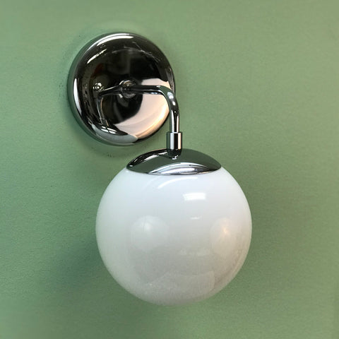 Modern Globe Wall Sconce Light in Polished Chrome by Practical Props