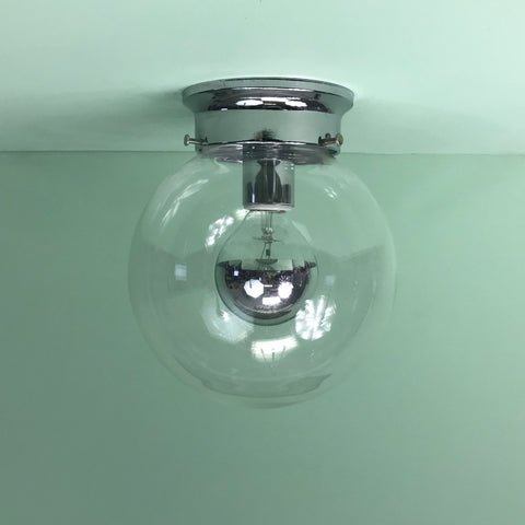 "Half-Chrome 8"" Clear Glass Globe Flush Mount Fixture"