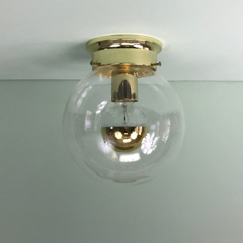 "Half-Gold 8"" Clear Glass Globe Flush Mount Fixture"