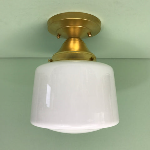 Opal Glass Hyperion Flush Mount Light Raw Brass