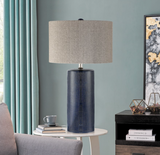 Jacoby Navy Blue Ceramic Table Lamp with Linen Shade by Lite Source