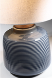 Lismore Retro Blue Ceramic Table Lamp with Linen Shade by Lite Source