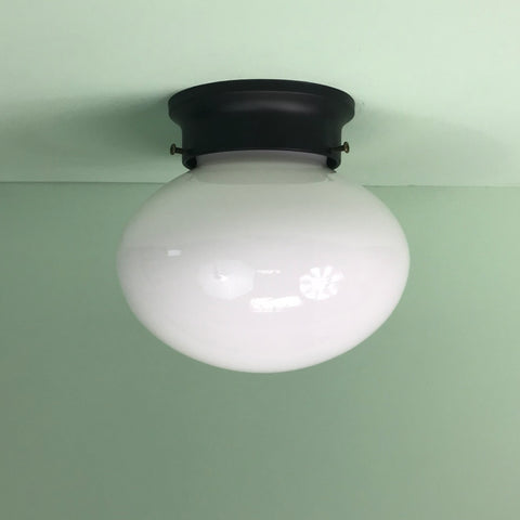 Retro Oval Glass Flush Mount Fixture with Matte Black Hardware