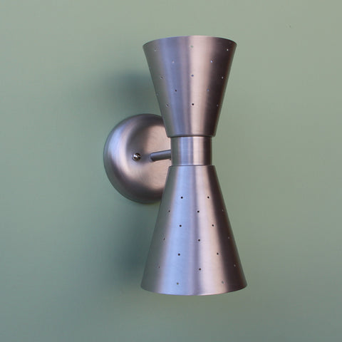 Midcentury Modern Dual Cone Pinhole Interior Wall Sconce