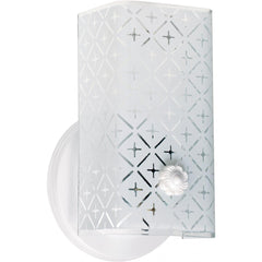 "Retro 7"" Diamond Pattern Frosted Channel U-bend Glass 2-light Bath Sconce"