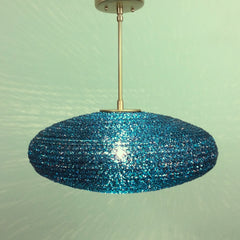 Teal Spun Acrylic Spaghetti Pendant Light by Practical Props