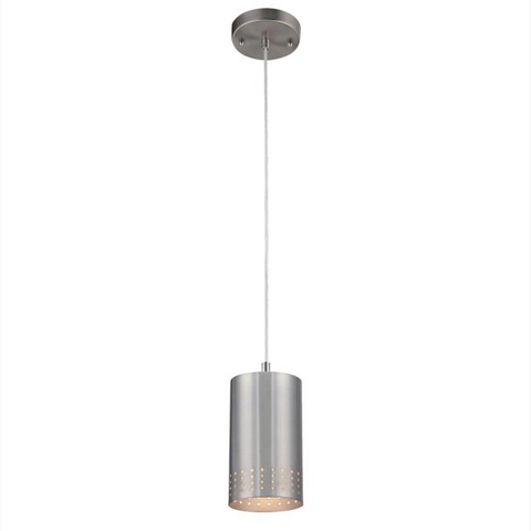 Modern Cylinder Pinhole Pendant Light in Brushed Nickel