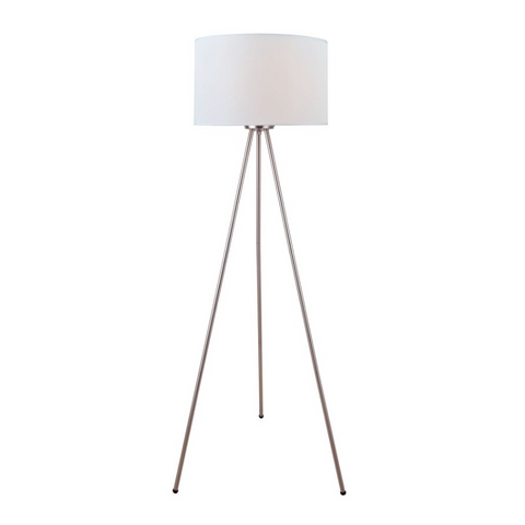 Tullio Modern Tripod Silver Floor Lamp with Linen Drum Shade by Lite Source