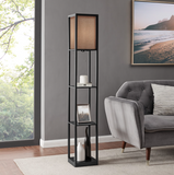 Tisha Floor Lamp with Burlap Shade and Shelf Storage by Lite Source