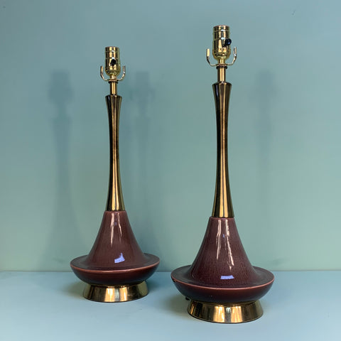 Pair of 1950s Vintage Purple Ceramic & Brass Table Lamps