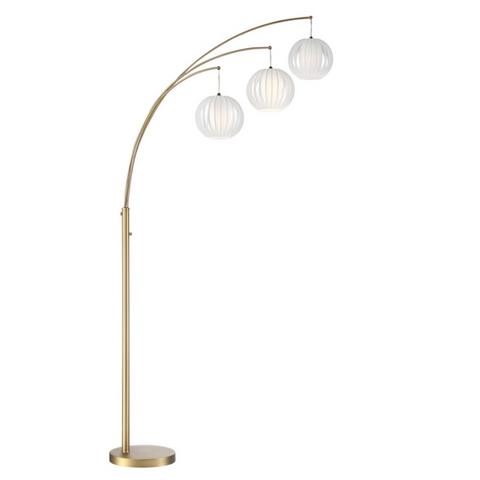 Deion Modern Brushed Gold Three-Light Arc Lamp