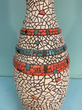 Vintage Mosaic Ceramic Orange and Turquoise Table Lamp