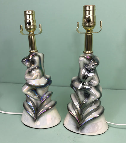 Vintage Pair of Ceramic Iridescent Dancing Figure Accent Lamps