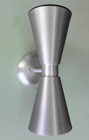 Exterior Dual Cone Wall Sconce Midcentury Modern Outdoor Light Fixture Aluminum