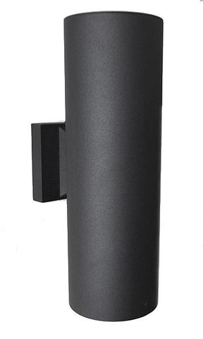 Modern Round Exterior Up Down Wall Sconce Black