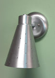 Single Swivel Pinhole Cone Interior Adjustable Wall Sconce Satin Aluminum