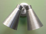 Double Swivel Pinhole Cone Interior Wall Sconce Satin Aluminum