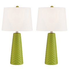 Pair of Retro Midcentury Modern Avocado Table Lamps - Muriel Table Lamp - Practical Props