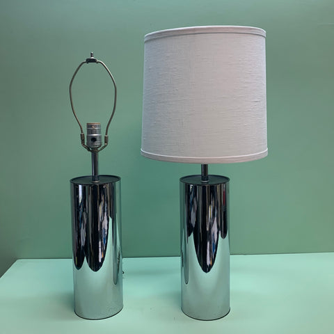 Pair of Vintage 1960s Polished Chrome Table Lamps with White Linen Shades - Practical Props