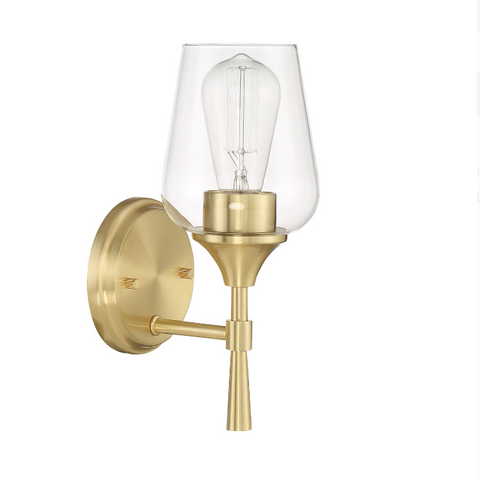 Stella 1-Light Champagne Gold Clear Glass & Brass Modern Wall Sconce by Sunset Lighting