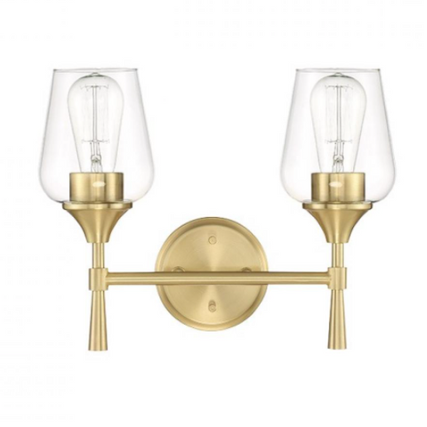 Stella 2-Light Champagne Gold Clear Glass & Brass Modern Wall Sconce by Sunset Lighting