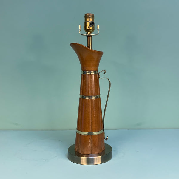 Wooden Pitcher Accent Lamp