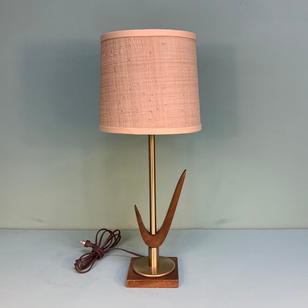 Wood & Brass Table Lamp