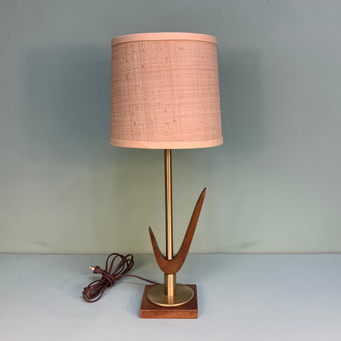 Vintage Handmade Midcentury Modern Wood & Brass Table Lamp - Practical Props