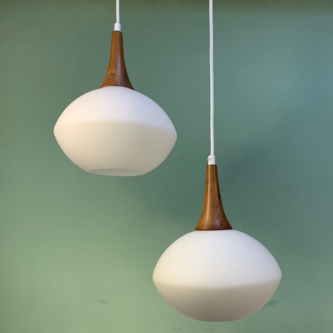 Pair of Mid Century Modern Frosted Glass & Wood Pendants - Practical Props