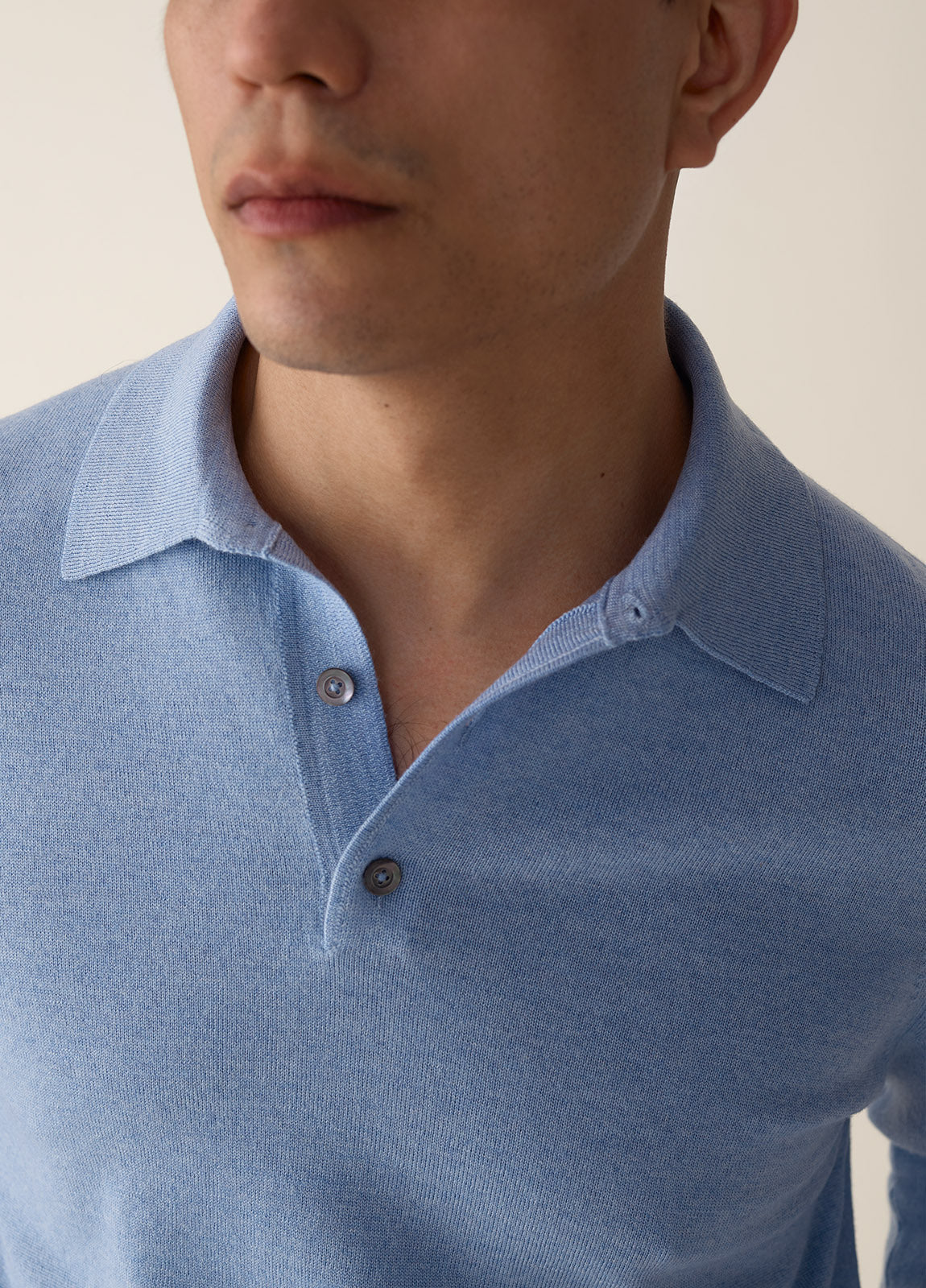 Polo Merino - Ice Blue