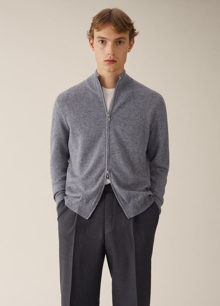Amo Full Zip Cashmere - Light Grey