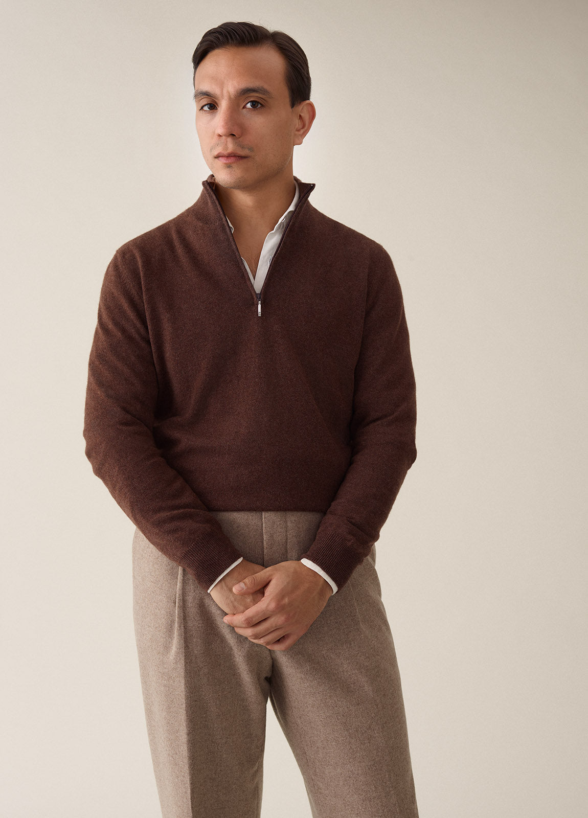 Half Zip Cashmere - Brown
