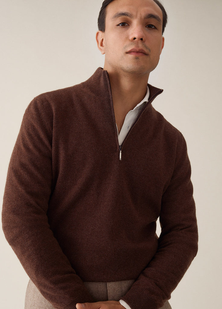 Amo Half Zip Cashmere - Brown